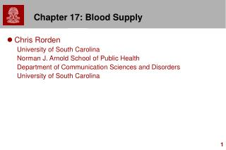 Chapter 17: Blood Supply