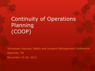 Continuity of Operations Planning (COOP)