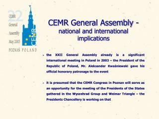 CEMR  General Assembly  - national and international implications