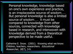 Catherine E. Snow.  2001.  Knowing what we know:  Children, teachers, researchers.  Educational Researcher, 307, 3-9.