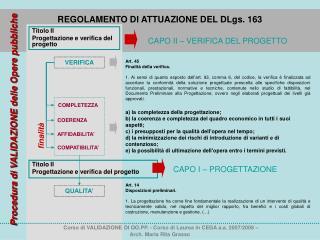 Titolo II Progettazione e verifica del progetto