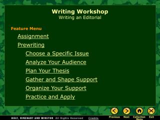 Writing Workshop Writing an Editorial