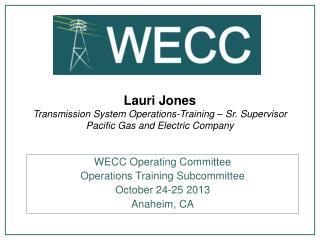 WECC Operating Committee Operations Training Subcommittee  October 24-25 2013 Anaheim, CA
