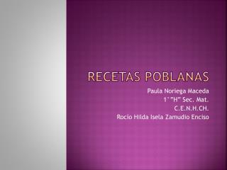 RECETAS POBLANAS