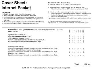 Cover Sheet: Internet Packet