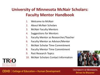 University of Minnesota McNair Scholars: Faculty Mentor Handbook