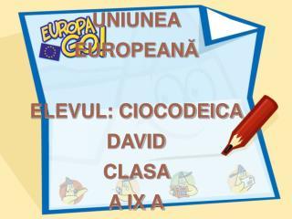 UNIUNEA  EUROPEAN Ă ELEVUL: CIOCODEICA DAVID CLASA  A IX A