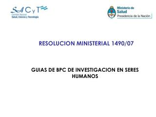 RESOLUCION MINISTERIAL 1490/07