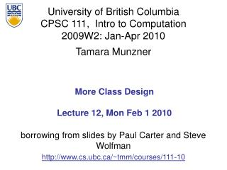 More Class Design Lecture 12, Mon Feb 1 2010