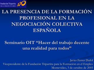 Javier Ferrer Dufol Vicepresidente de la Fundación Tripartita para la Formación en el Empleo