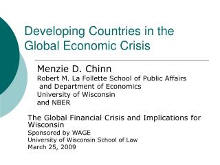 Developing Countries in the Global Economic Crisis