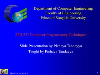 Department of Computer Engineering Faculty of Engineering Prince of Songkla University