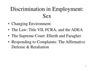 Discrimination in Employment: Sex
