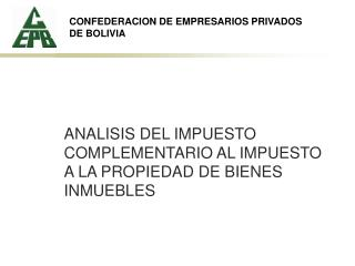 CONFEDERACION DE EMPRESARIOS PRIVADOS DE BOLIVIA