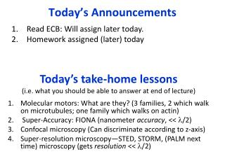 Today's take-home lessons (i.e. what you should be able to answer at end of lecture)
