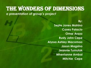 THE WONDERS OF DIMENSIONS a presentation of group's project