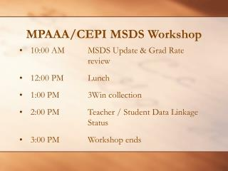 MPAAA/CEPI MSDS Workshop