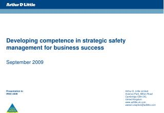 Developing competence in strategic safety management for business success