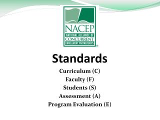Standards Curriculum (C) Faculty (F) Students (S) Assessment (A) Program Evaluation (E)