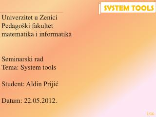 Univerzitet u Zenici Pedagoški fakultet matematika i informatika Seminarski rad