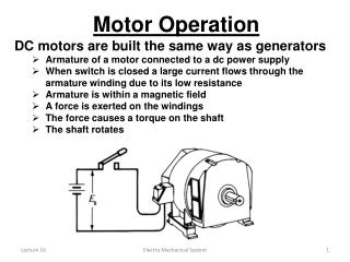 DC motors are built the same way as generators Armature of a motor connected to a dc power supply