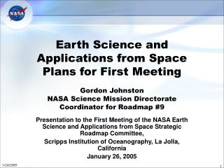 Earth Science and Applications from Space Strategic Roadmap