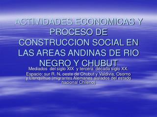 ACTIVIDADES ECONOMICAS Y PROCESO DE CONSTRUCCION SOCIAL EN LAS AREAS ANDINAS DE RIO NEGRO Y CHUBUT