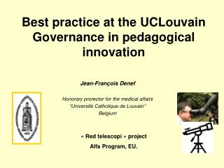 Best practice at the UCLouvain Governance in pedagogical innovation