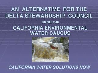 AN  ALTERNATIVE  FOR THE  DELTA STEWARDSHIP  COUNCIL
