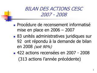 BILAN DES ACTIONS CESC 2007 - 2008