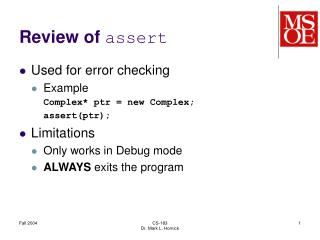 Review of  assert