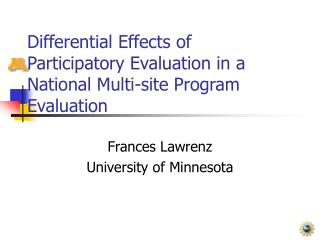 Differential Effects of Participatory Evaluation in a National Multi-site Program Evaluation