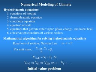 Numerical Modeling of Climate
