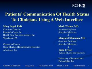Patients' Communication Of Health Status  To Clinicians Using A Web Interface