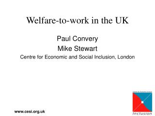 Welfare-to-work in the UK