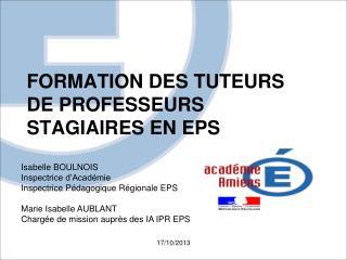 FORMATION DES TUTEURS DE PROFESSEURS STAGIAIRES EN EPS