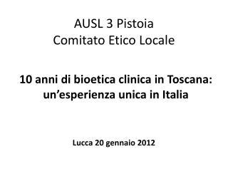 AUSL 3 Pistoia  Comitato Etico Locale