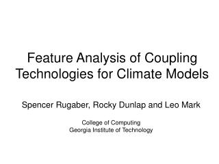 Feature Analysis of Coupling Technologies for Climate Models