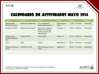 CALENDARIO  DE  ACTIVIDADES  MAYO  2014