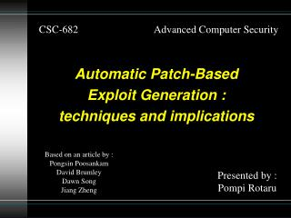 CSC-682                             Advanced Computer Security