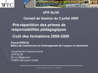 UFR SLHS Conseil de Gestion du 2 juillet 2009