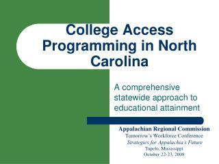 College Access Programming in North Carolina