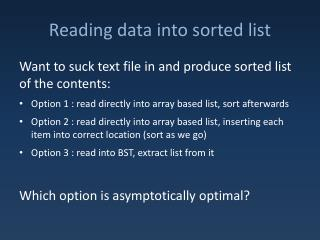 Reading data into sorted list
