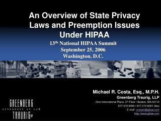 An Overview of State Privacy Laws and Preemption Issues Under HIPAA