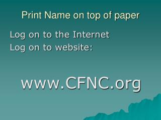 Print Name on top of paper
