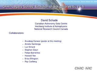 David Schade Canadian Astronomy Data Centre Herzberg Institute of Astrophysics