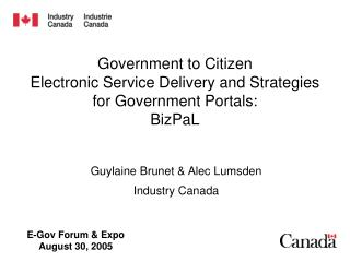 Government to Citizen  Electronic Service Delivery and Strategies for Government Portals:   BizPaL