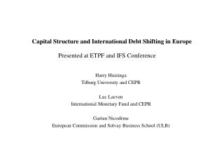Capital Structure and International Debt Shifting in Europe