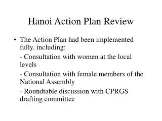 Hanoi Action Plan Review