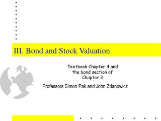 III. Bond and Stock Valuation
